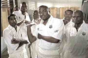 Brian Lara with members of the West Indies Team in a Television ad for the 1999 Series